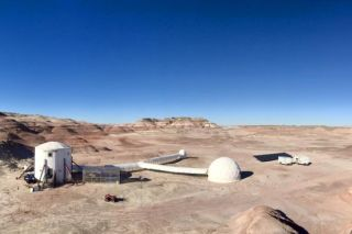 The Mars Society's Mars 160 Twin Desert-Arctic Analog simulation is underway at the Mars Desert Research Station (shown here) in the Utah desert.