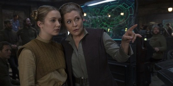 Billie Lourd and Carrie Fisher in Star Wars: The Force Awakens