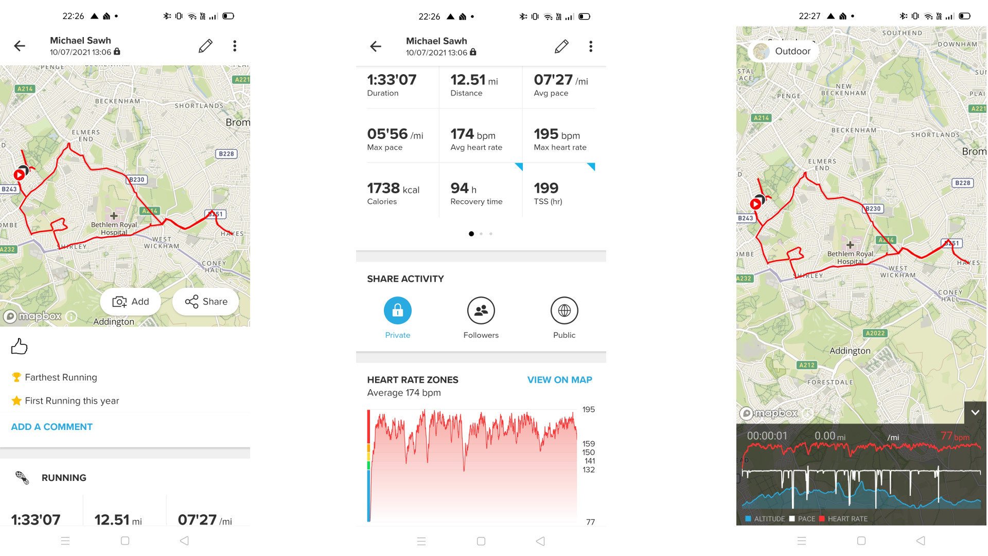 Suunto 7 app screengrabs showing maps and running stats
