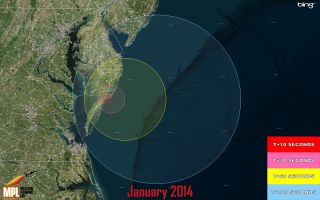 Visibility Map for Wallops Launch, Jan. 14, 2014