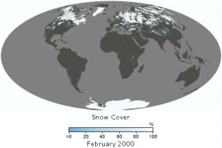 Earth's snow cover seen by satellite