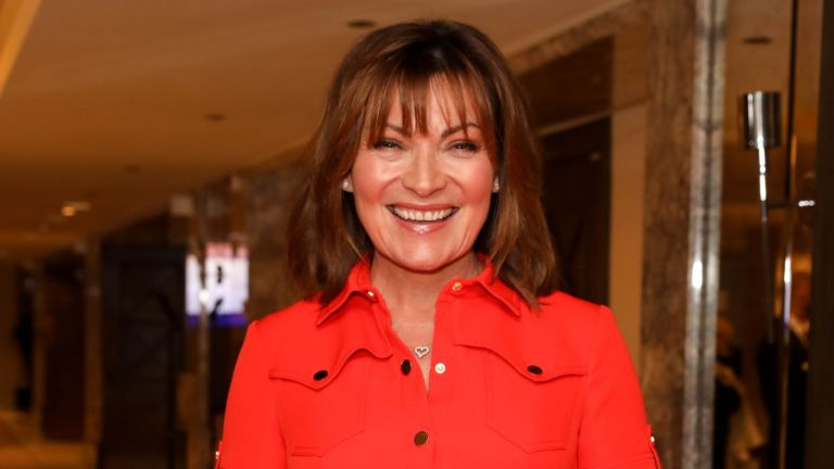 lorraine kelly in red dress laughing