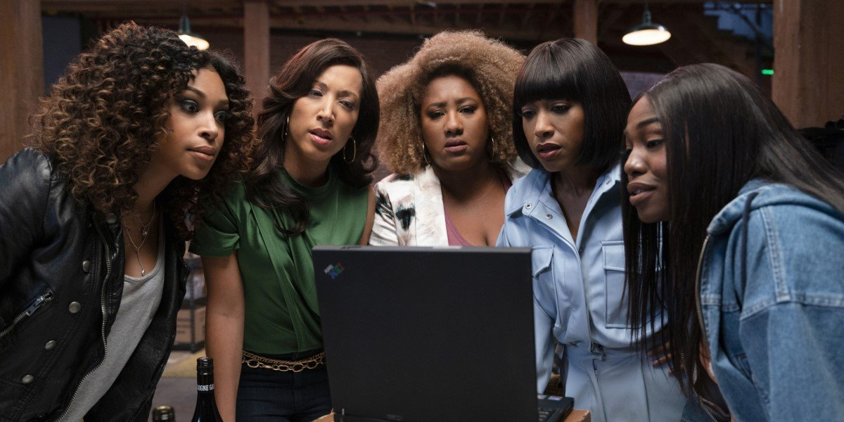 a black lady sketch show cast looking at a computer in season 2