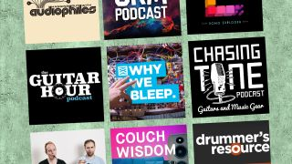 Display of music podcast logos against a green/grey wall