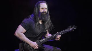 John Petrucci performs during the G3 concert at Eventim Apollo on April 25, 2018 in London, England