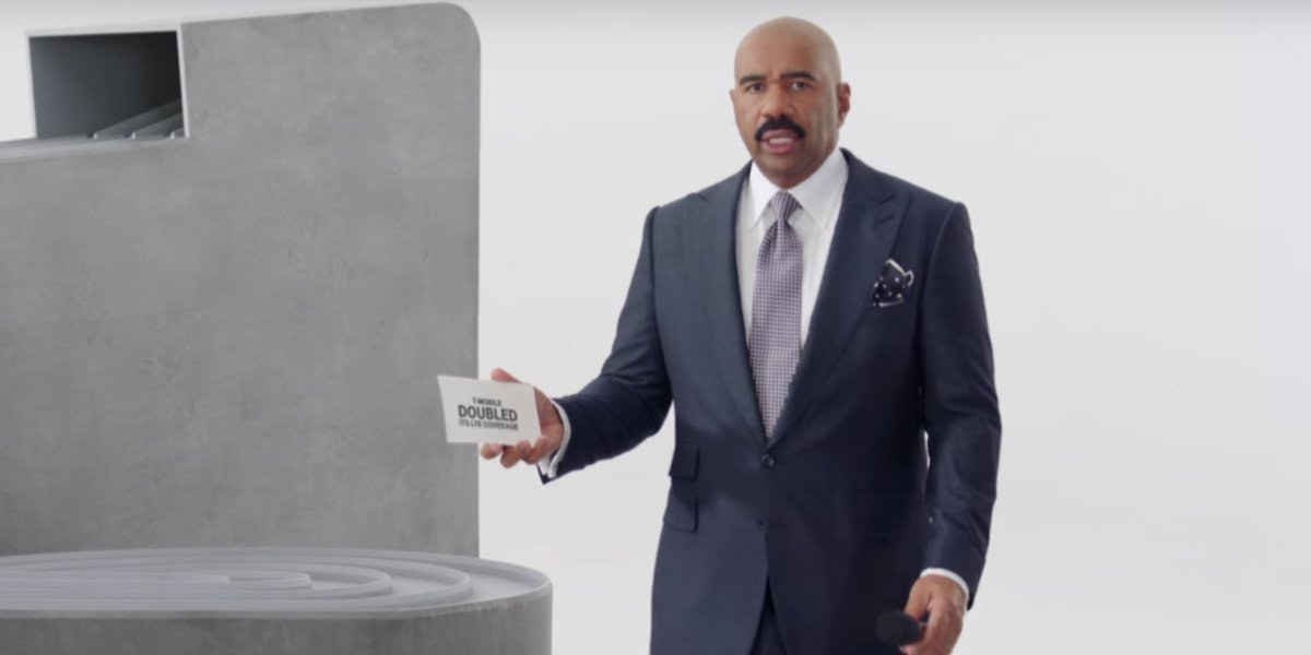 Steve Harvey in his Super Bowl T Mobile ad
