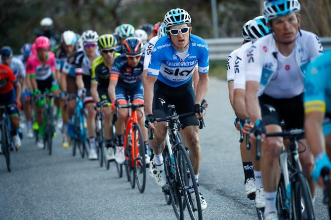 Geraint Thomas suffered a mechanical near the end of stage 4 at Tirreno-Adriatico