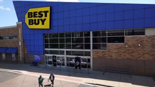 Customers shop at a Best Buy store on August 24, 2021 in Chicago, Illinois.