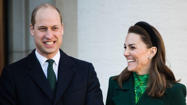 Catherine, Duchess of Cambridge accompanied by Prince William, Duke of Cambridge meets Ireland's Taoiseach Leo Varadkar and his partner Matthew Barrett on March 03, 2020 in Dublin, Ireland