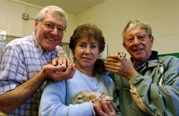 Reunited former Blue Peter presenters (L-R) Peter Purves, Valerie Singleton and John Noakes with mice Ben and Jerry, Marge the Chinchilla and Smokey the Hamster, at RSPCA Southridge Animal Centre in Potters Bar, Hertfordshire