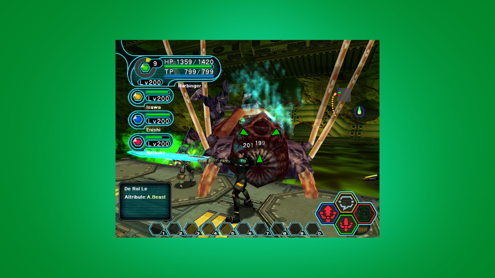 Phantasy Star Online gameplay of fighting a huge boss with four players