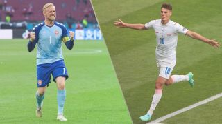 Czech Republic vs Denmark live stream at Euro 2020 — Kasper Schmeichel of Denmark and Patrik Schick of Czech Republic
