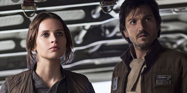 Felicity Jones as Jyn Erso and Diego Luna as Cassian Endor in Rogue One