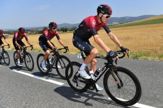 BEZIERS FRANCE AUGUST 01 Christopher Froome of The United Kingdom and Team Ineos Jonathan Castroviejo of Spain and Team Ineos Egan Bernal of Colombia and Team Ineos during the 44th La Route dOccitanie La Depeche du Midi 2020 Stage 1 a 187km stage from Saint Affrique to Cazouls ls Bziers RouteOccitanie RDO2020 on August 01 2020 in Beziers France Photo by Justin SetterfieldGetty Images