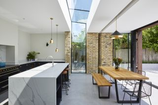 bright kitchen extension ideas with rooflight
