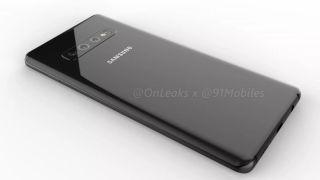 The Galaxy S10 Plus in black. Credit: OnLeaks / 91mobiles