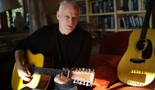 David Gilmour with his new Martin signature acoustic guitar