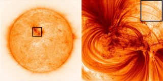 "The Hi-C telescope's view of active region 12712 on the sun, including ""tiny"" plasma strands 125 miles across."