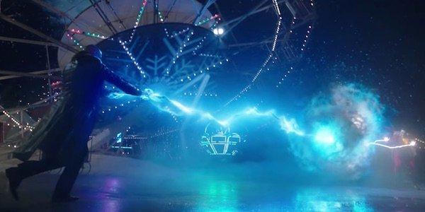 Shazam and Sivana fighting near falling ferris wheel