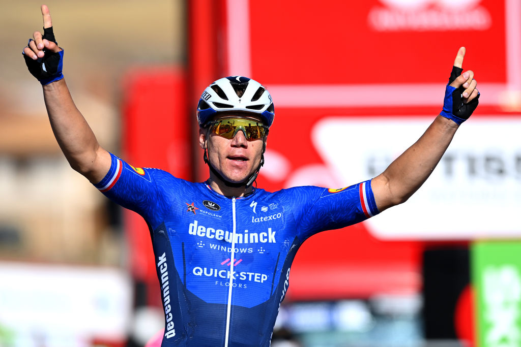 MOLINA DE ARAGON SPAIN AUGUST 17 Fabio Jakobsen of Netherlands and Team Deceuninck QuickStep celebrates winning during the 76th Tour of Spain 2021 Stage 4 a 1639km stage from El Burgo de Osma to Molina de Aragn 1134m lavuelta LaVuelta21 on August 17 2021 in Molina de Aragn Spain Photo by Stuart FranklinGetty Images
