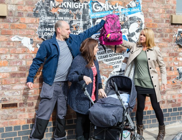 Corrie's Anna and Tim hand baby Miley over to Josie Hodge