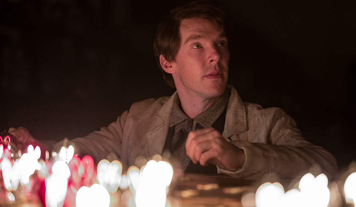 The Current War Benedict Cumberbatch working at a board of light bulbs