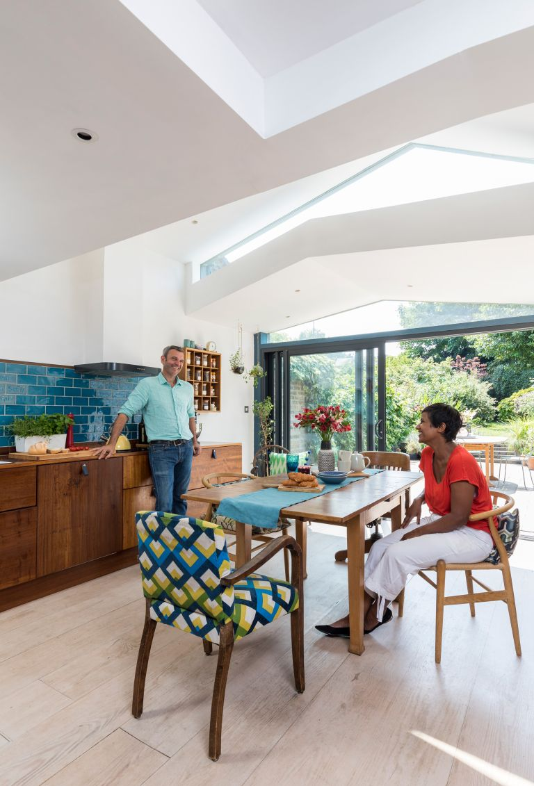 Ben Arkell and Fahmida Bakht furnished their kitchen extension with vintage treasures to create a unique family space