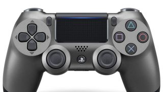 A close-up, front view of the new Steel Black PS4 controller.