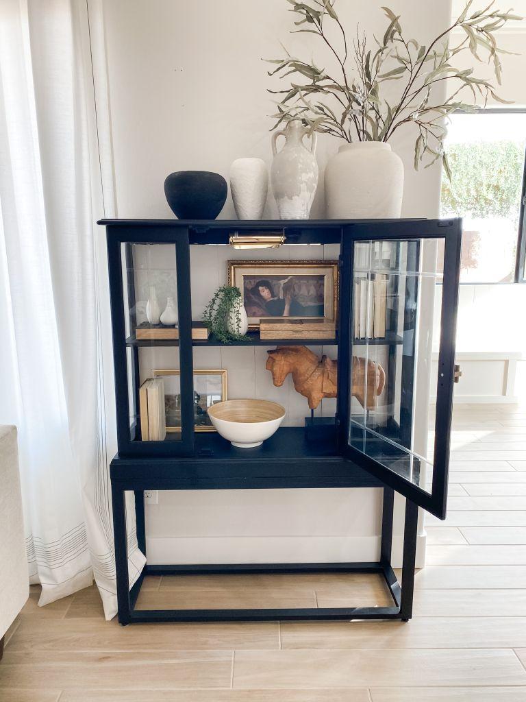 diy black curio cabinet