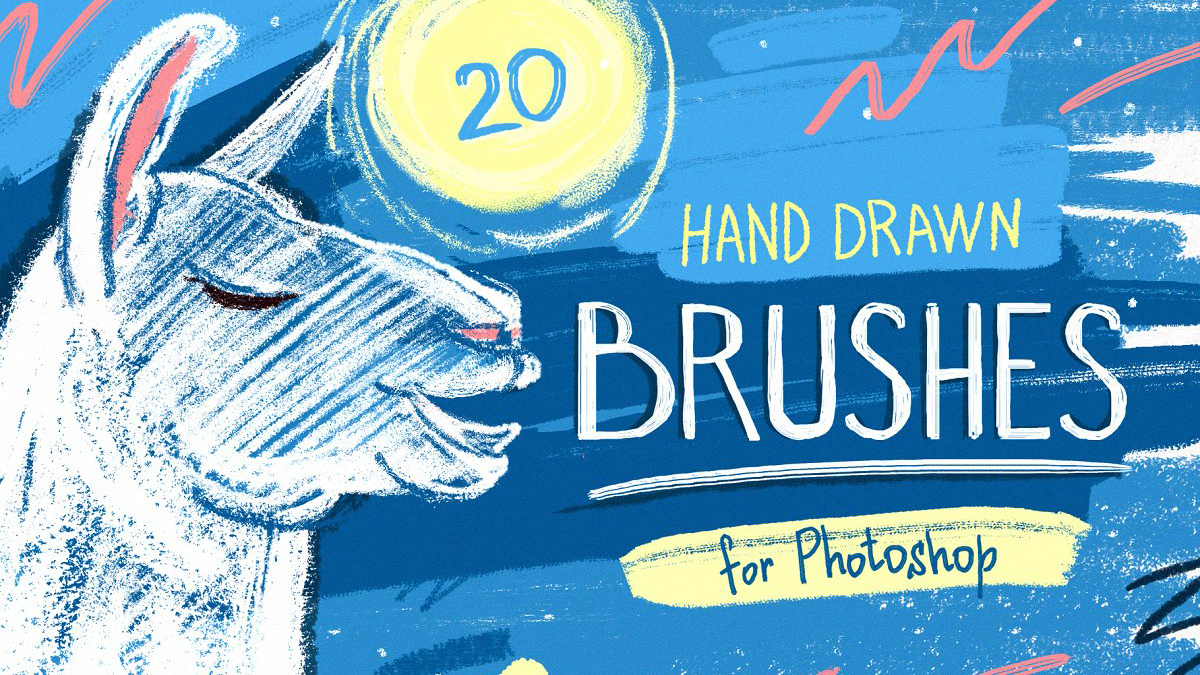 Hand-drawn llama illustrating the different brushes in the Essential Hand Drawn Brush pack