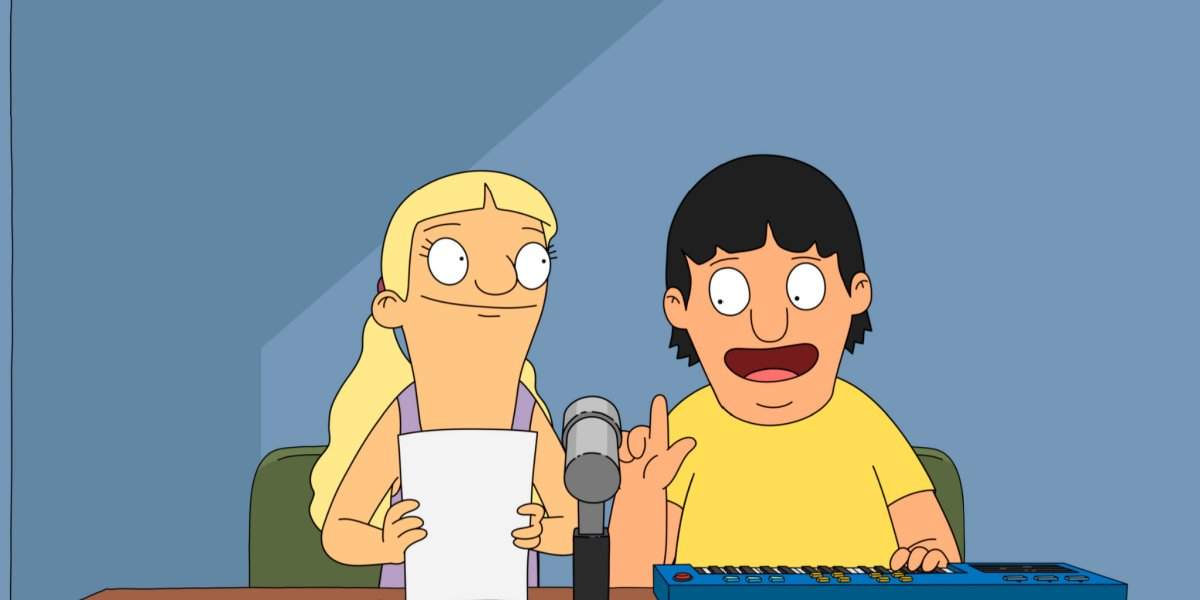 Gene and Courtney doing the announcements in Bob's Burgers.