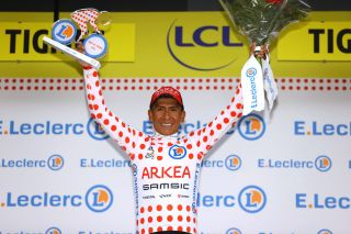 TIGNES FRANCE JULY 04 Nairo Quintana of Colombia and Team Arka Samsic Polka Dot Mountain Jersey celebrates at podium during the 108th Tour de France 2021 Stage 9 a 1449km stage from Cluses to Tignes Monte de Tignes 2107m Trophy LeTour TDF2021 on July 04 2021 in Tignes France Photo by Tim de WaeleGetty Images