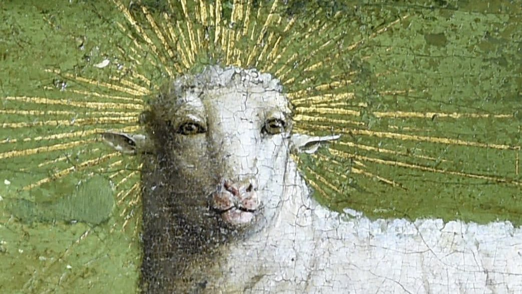 Ghent altarpiece lamb restored to reveal sassy human face