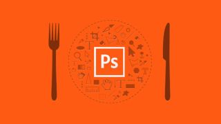 Graphic shows a knife fork and plate with Photoshop tool icons instead of food and Photoshop symbol in the centre