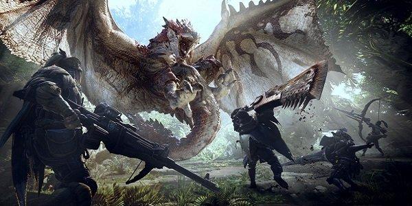 Hunters track down a monster in Monster Hunter World.