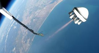 A Zero 2 Infinity Bloostar rocket prototype launches from a high-altitude balloon, itself flying 25 kilometers above Earth, during a test flight on March 1, 2017.