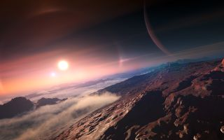 Exoplanet View from its Moon Artist's Impression space wallpaper