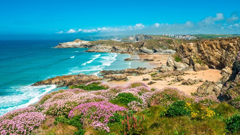 Stunning coastal scenery with Newquay beach in North Cornwall