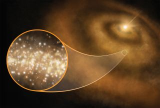 An artist's illustration of nanodiamonds (tiny nanoscale diamonds) around a young star in our Milky Way galaxy.