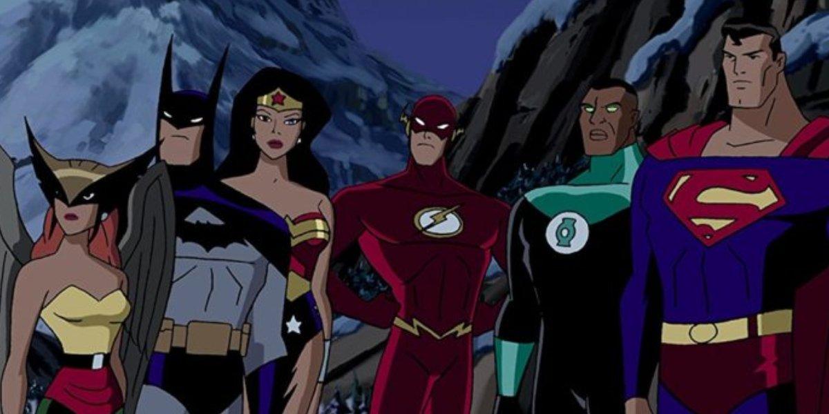 Hawkgirl, Batman, Wonder Woman, The Flash, Green Lantern, and Superman on Justice League