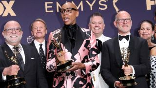 LOS ANGELES, CA - SEPTEMBER 22: RuPaul poses with the award for Outstanding Competition Program in the press room during the 71st Emmy Awards at Microsoft Theater on September 22, 2019 in Los Angeles, California.