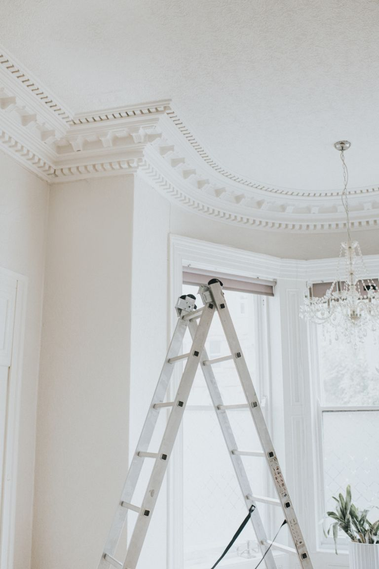 Ladder in white room with ornate trim ceiling
