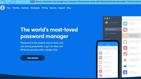 1Password review - 1Password's homepage