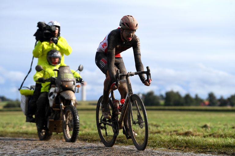 Florian Vermeersch on his way to second at the 2021 Paris-Roubaix