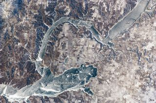 ISS image shows ice covering North Dakota's Lake Sakakawea.