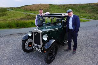 Peter and Christopher in front of an Austin 7