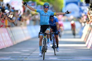 Astana's Pello Bilbao wins stage 20 of the 2019 Giro d'Italia ahead of Movistar's Mikel Landa. The two riders will be teammates at Bahrain-Merida in 2020