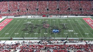 The Ohio State University Marching Band on the field