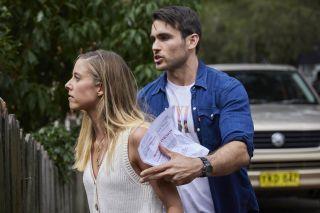 Cash Newman restrains mystery woman Felicity.