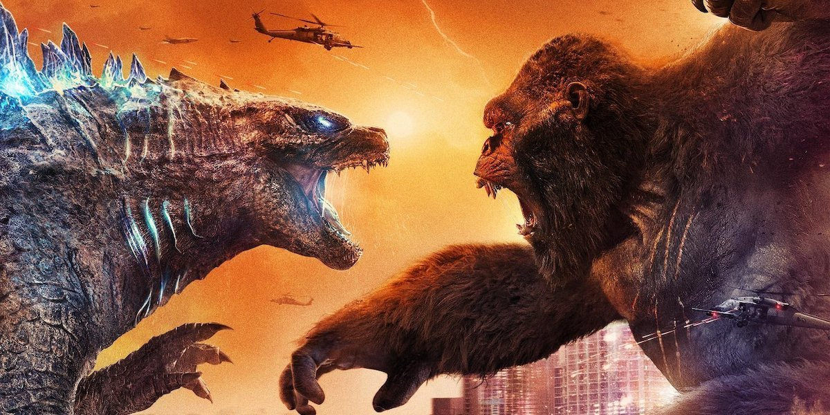 Godzilla and King Kong about to collide in battle